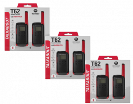 Motorola Walkie Talkie TLKR T62 Radio Six Pack (Red)