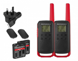 Motorola Walkie Talkie TLKR T62 Radio Twin Pack (Red)